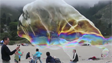 Giant Bubbles in the Beach